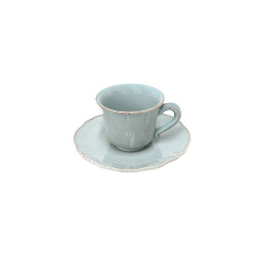 Alentejo Turquoise Cup and Saucer (Set of 2) from belleandjune.com | Tabletop