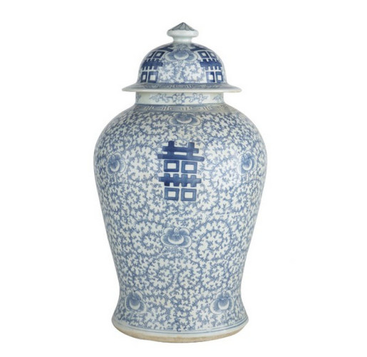 Blue and White Double Happiness Floral Temple Jar