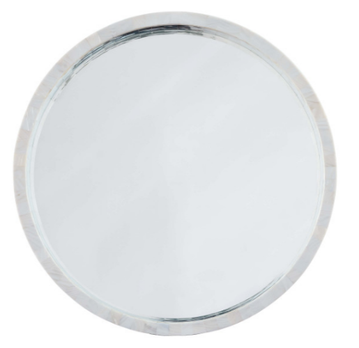 Mother of Pearl Round Mirror from belleandjune.com | Console Table