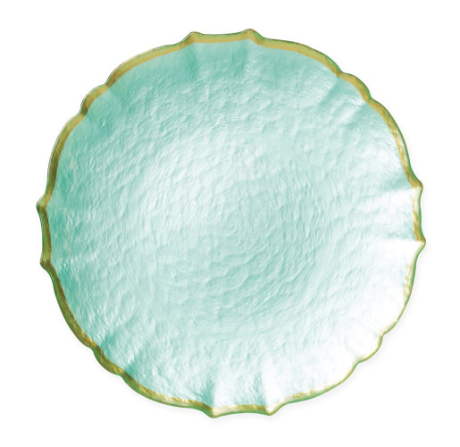 Pastel Glass Aqua Charger by belleandjune.com | Tabletop