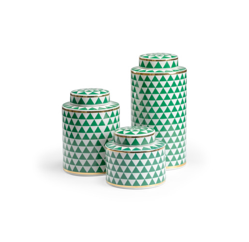 Scheel Modern Green and White Canisters from belleandjune.com | Decorative Canisters