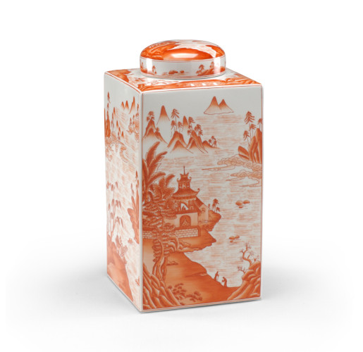Orange Cantonese Tea Caddy from belleandjune.com | Vases and Temple Jars