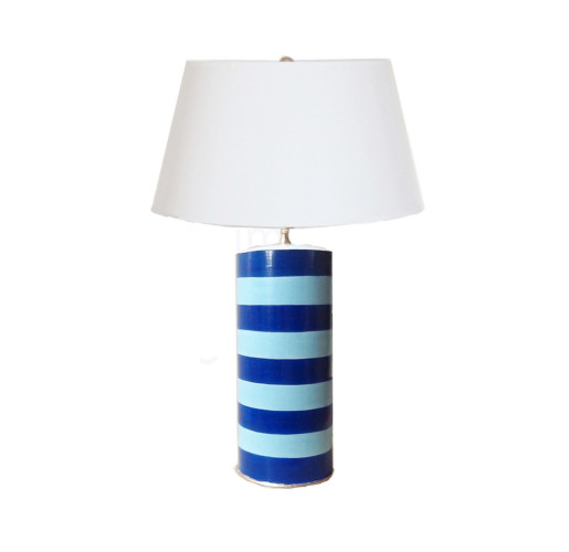 Turquoise Blue Striped Stacked Lamp