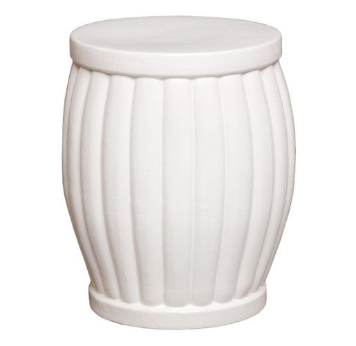 White Fluted Garden Stool