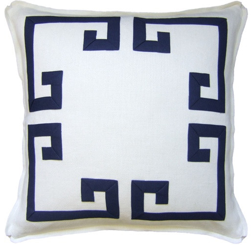 Aegean Fretwork Indigo Pillow