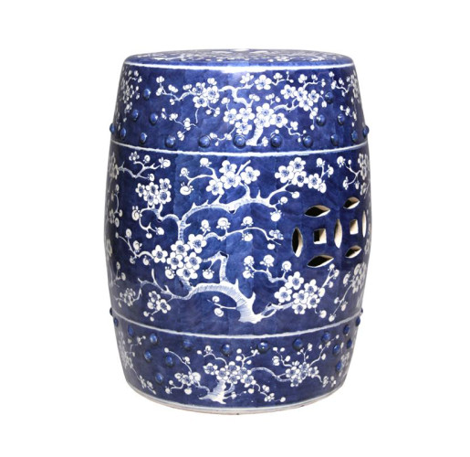 Blue and White Garden Stool with Plum Blossom
