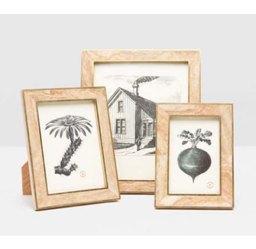 Miles Stone with Brass Picture Frames from belleandjune.com   tabletop frams