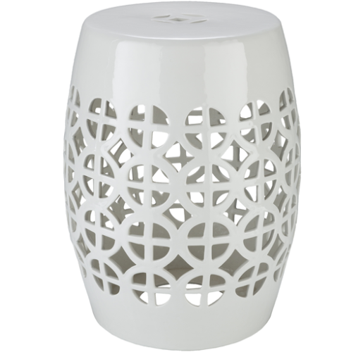 Ridgeway White Stool by Surya from belleandjune.com | Garden Stool