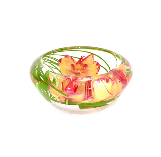 Yellow/Red Phalaenopsis Flower Bowl