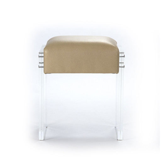 Leather and Acrylic Vanity Stool