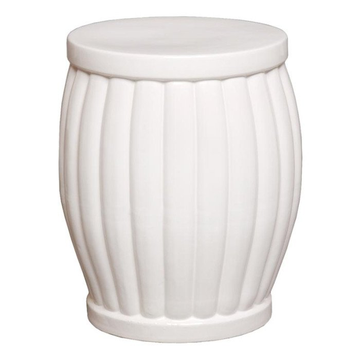 White Fluted Garden Stool Garden Stools Accent Tables