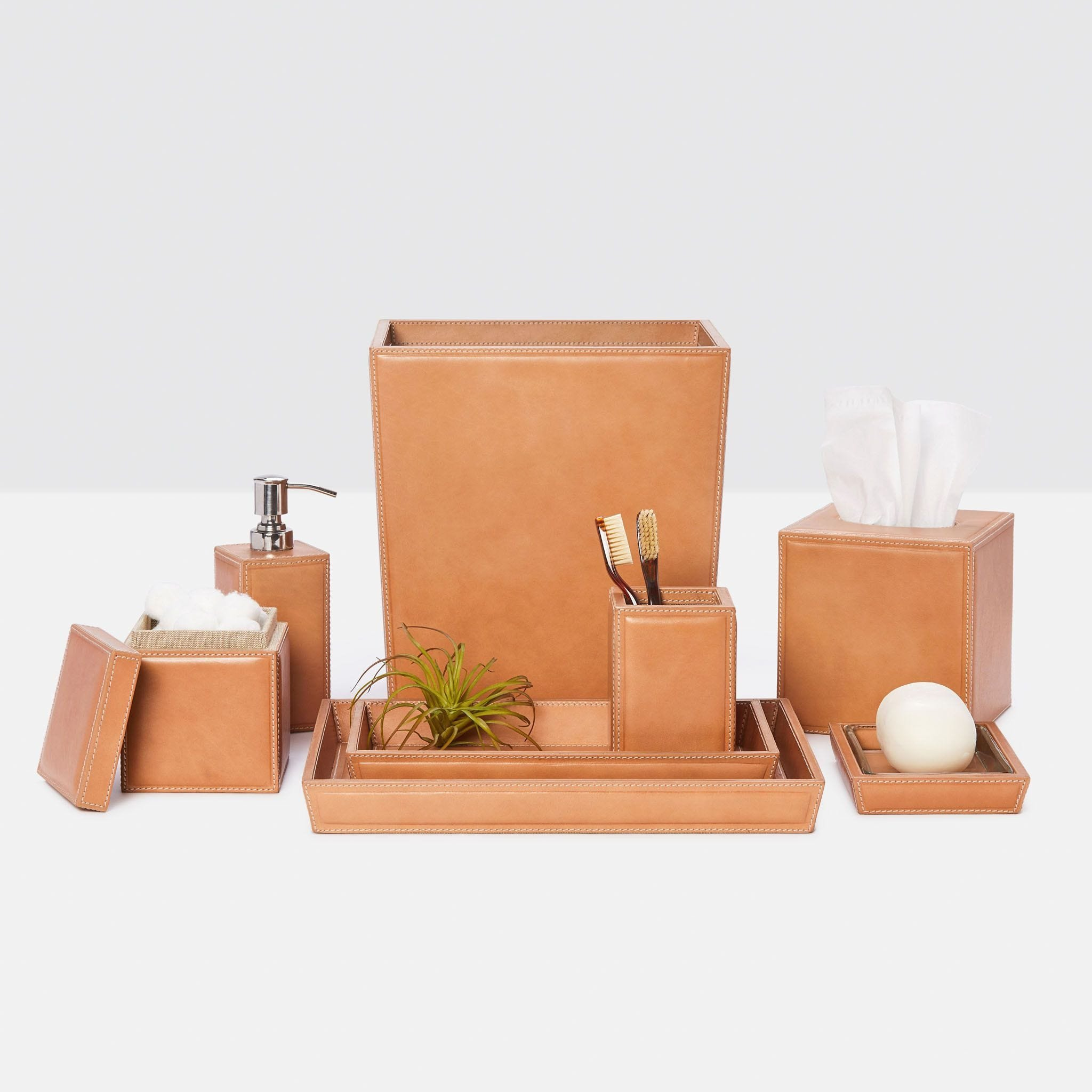 Lorient Aged Camel Leather Bathroom, Bathroom Collection Set