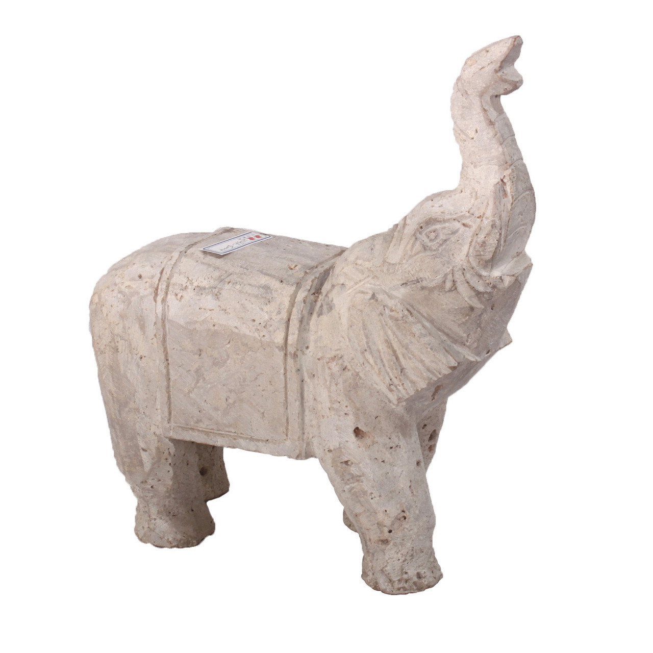 Travertine Stone Lucky Elephant Statue Home Decor