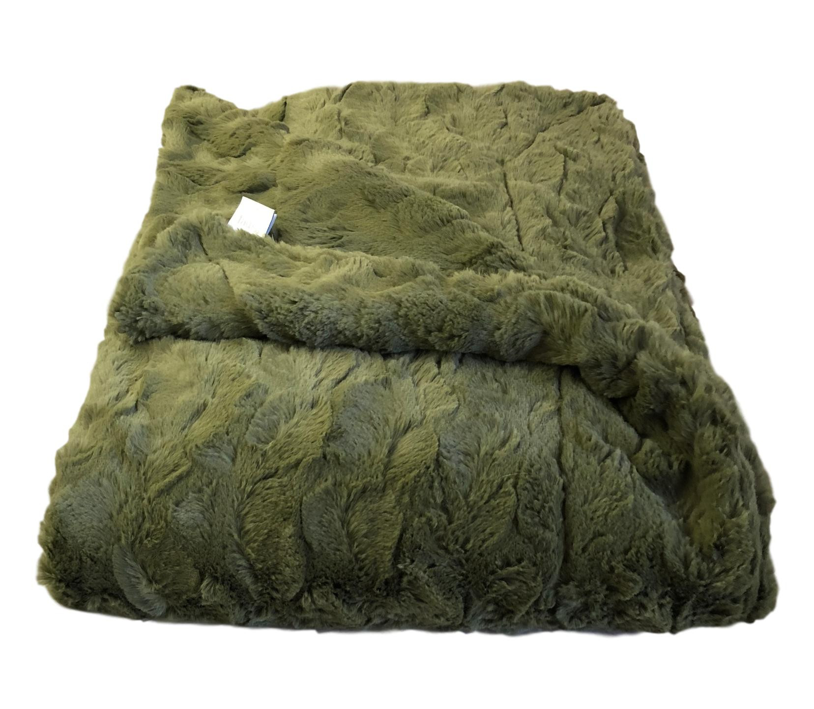 Olive Green Lux Faux Fur Throw Blanket Throw Blankets