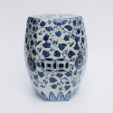 Blue & White Grape Pattern Hex Garden Stool from belleandjune.com | garden stool