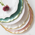 Pastel Glass Pink Service Charger by belleandjune.com | Tabletop