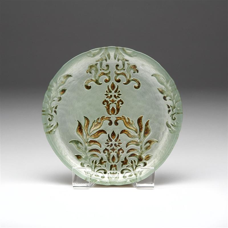 Damask Canape Plate Turquoise and Gold
