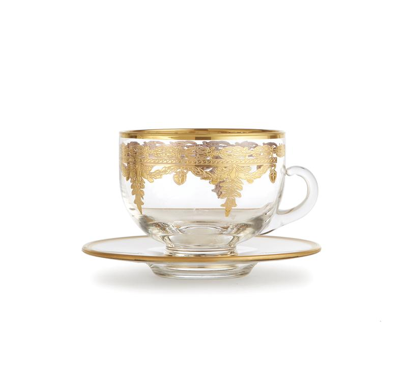 Arte Italica Vetro Gold Coffee Cup and Saucer