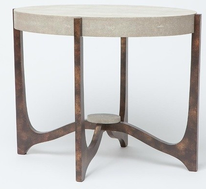 Dexter Side Table Sand and Bronze Shagreen