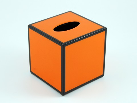 Orange with Black Trim Tissue Box Cover