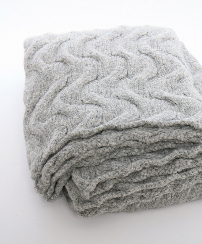 Trenza Knitted Blanket Throw-Silver