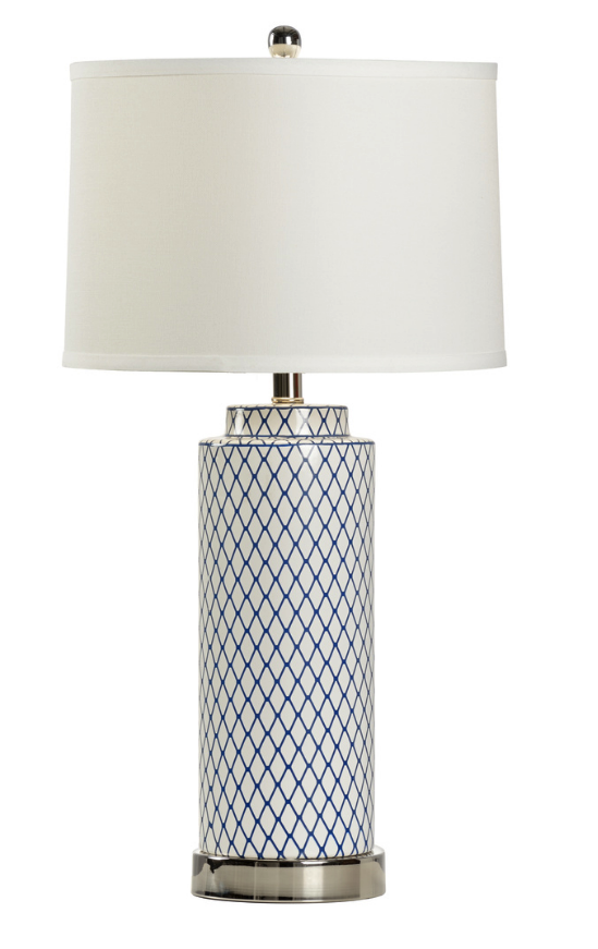 Betsy Blue and White Diamond Lamp
