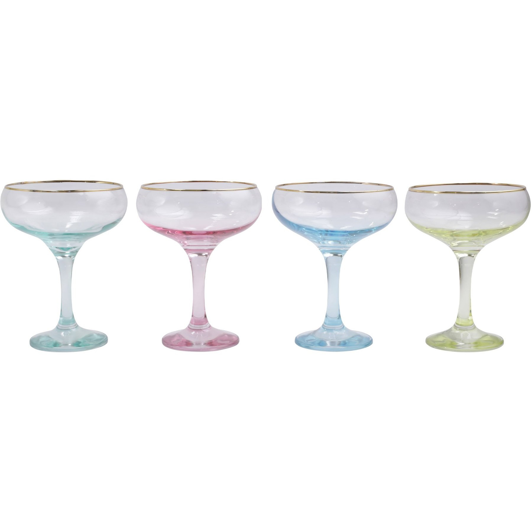 Rainbow Assorted Coupe Champagne Glasses Set Of 4 Shefinds