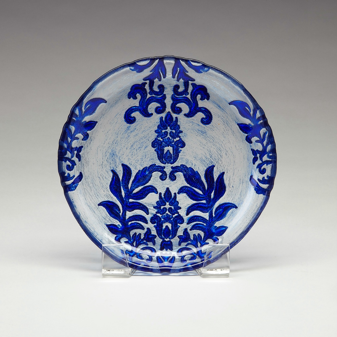 Damask canape plate brilliant blue for Canape plate size